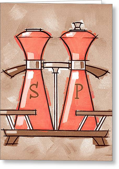 Salt And Pepper Coral And Tan Greeting Card by Larry Hunter