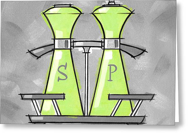 Salt And Pepper Lime Greeting Card by Larry Hunter