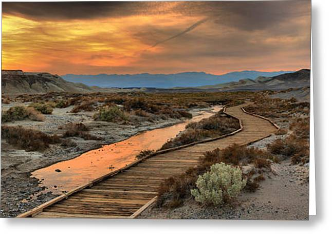 Salt Creek Sunset Panorama Greeting Card by Adam Jewell