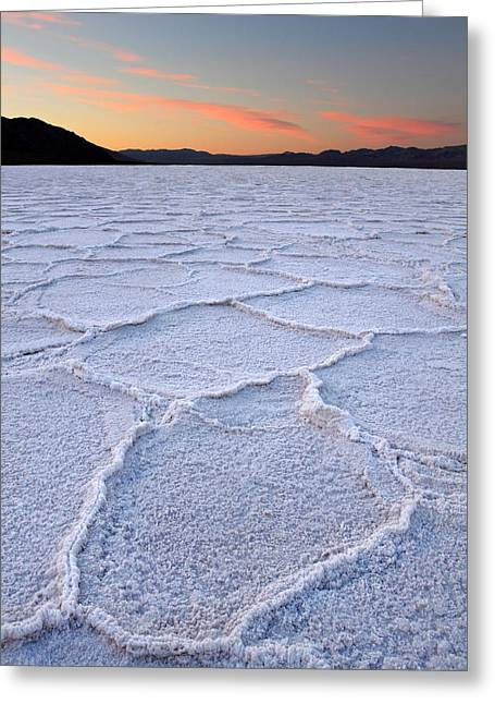 Road Trip Greeting Cards - Salt formations at Badwater in Death valley Greeting Card by Pierre Leclerc Photography