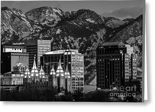 Salt Lake City Temple Greeting Cards - Salt Lake City Downtown Winter Skyline - Black and White Greeting Card by Gary Whitton