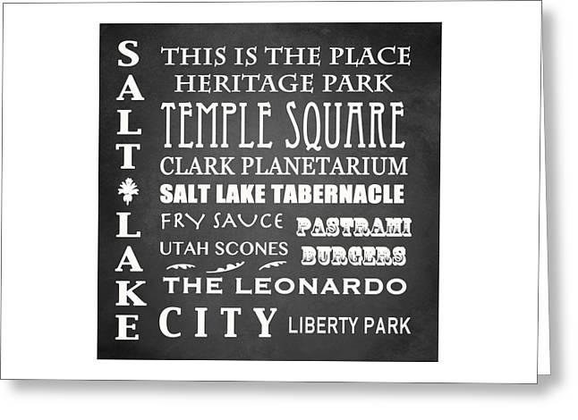 Salt Lake City Temple Digital Art Greeting Cards - Salt Lake City Famous Landmarks Greeting Card by Patricia Lintner