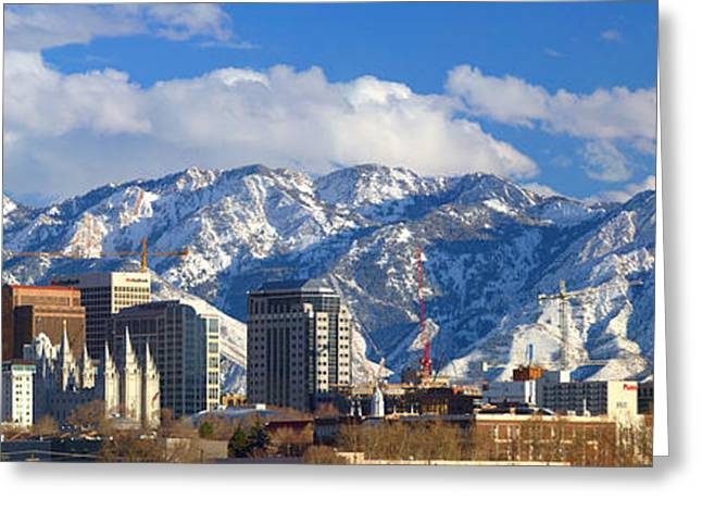 Snow Capped Photographs Greeting Cards - Salt Lake City Skyline Greeting Card by Utah Images