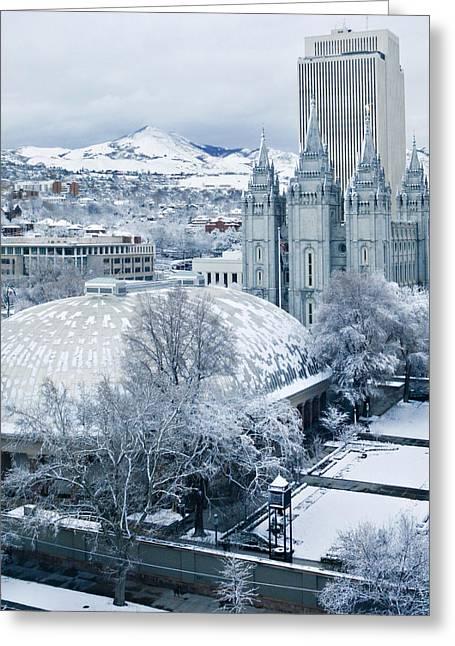 Mormon Tabernacle Greeting Cards - Salt Lake City Tabernacle and Temple Greeting Card by Marilyn Hunt