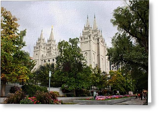 Salt Lake City Temple Digital Greeting Cards - Salt Lake City temple Greeting Card by Lynda Clark