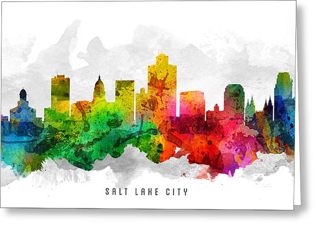 Salt Lake City - Utah Greeting Cards - Salt Lake City Utah Cityscape 12 Greeting Card by Aged Pixel