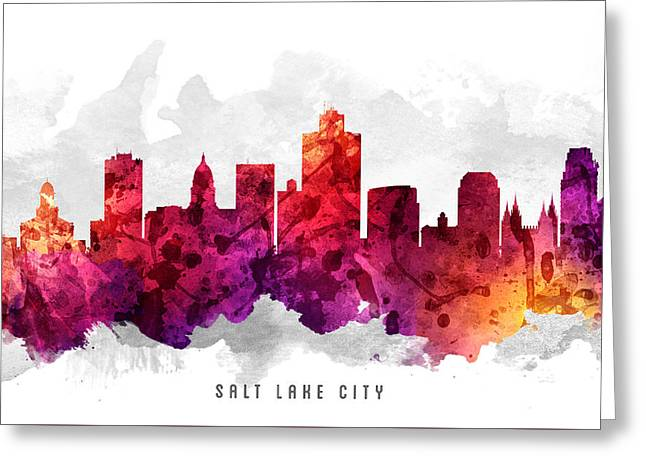 Salt Lake City - Utah Greeting Cards - Salt Lake City Utah Cityscape 14 Greeting Card by Aged Pixel