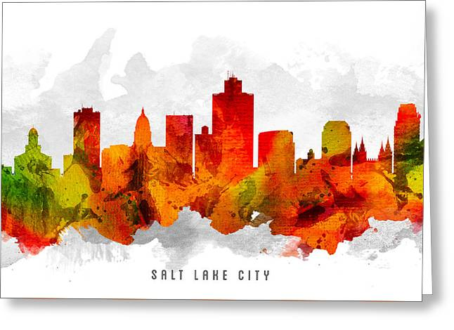 Salt Lake City - Utah Greeting Cards - Salt Lake City Utah Cityscape 15 Greeting Card by Aged Pixel