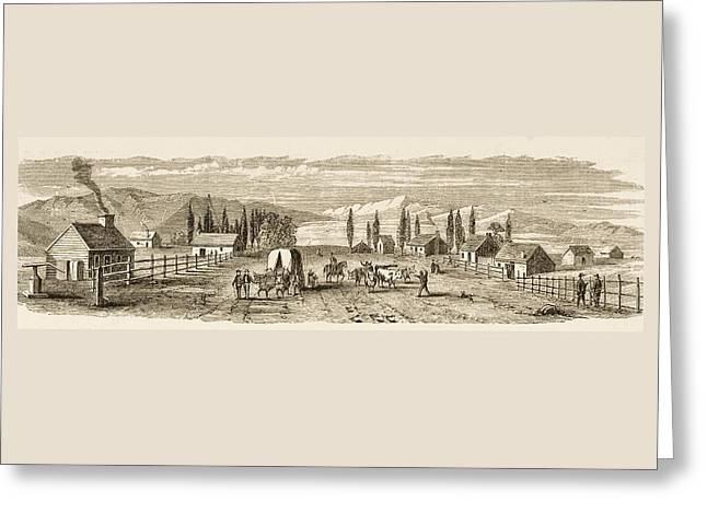 Saint Joseph Drawings Greeting Cards - Salt Lake City Utah In 1850. From Greeting Card by Ken Welsh
