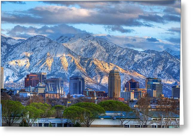 Snowy Night Greeting Cards - Salt Lake City Utah USA Greeting Card by Utah Images