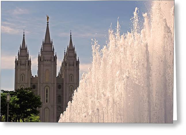 Salt Lake City Temple Greeting Cards - Salt Lake Temple and Fountain Greeting Card by Rona Black
