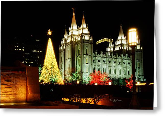 Temple Square Greeting Cards - Salt Lake Temple Christmas Tree Greeting Card by La Rae  Roberts