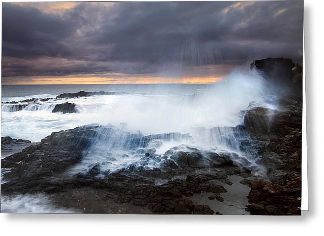 Lava Rock Greeting Cards - Salt Spray Sunset Greeting Card by Mike  Dawson