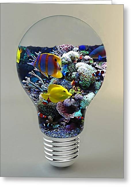 Decorative Fish Greeting Cards - Saltwater Aquarium Light Bulb Greeting Card by Marvin Blaine