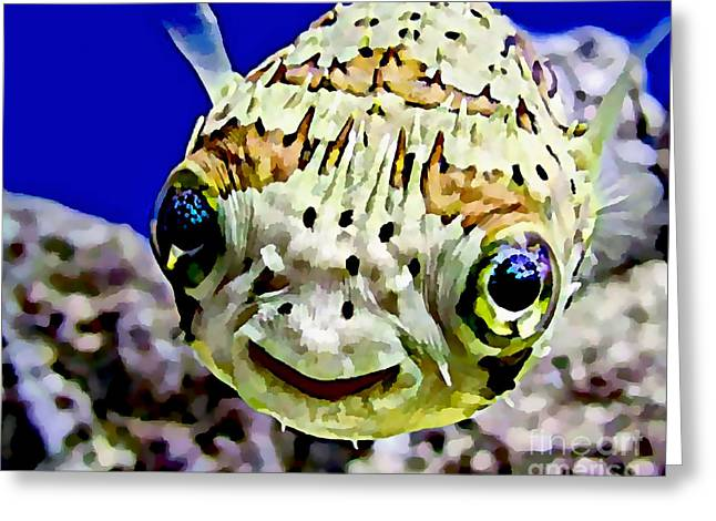 Puffer Mixed Media Greeting Cards - Saltwater Porcupinefish Greeting Card by Marvin Blaine