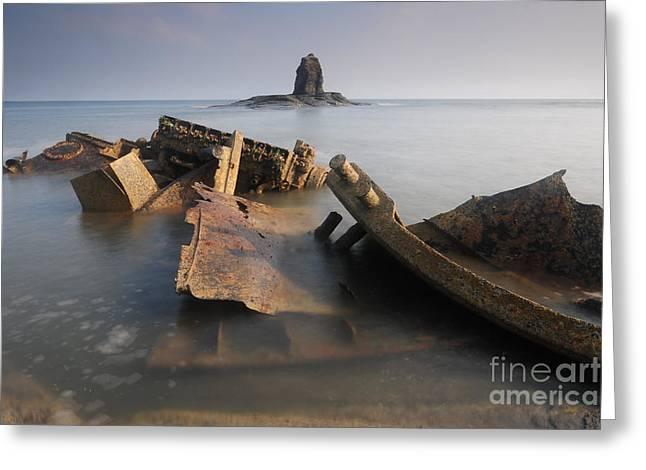 Saltwick Bay Greeting Card by Stephen Smith