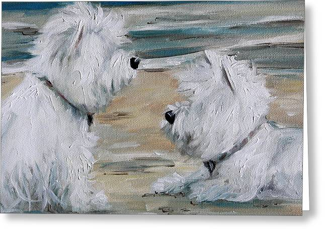 Westie Cards Greeting Cards - Salty Dawgs Greeting Card by Mary Sparrow