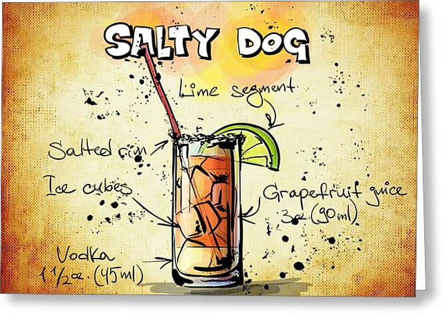 Bartender Drawings Greeting Cards - Salty Dog Recipe Greeting Card by Alexas Fotos