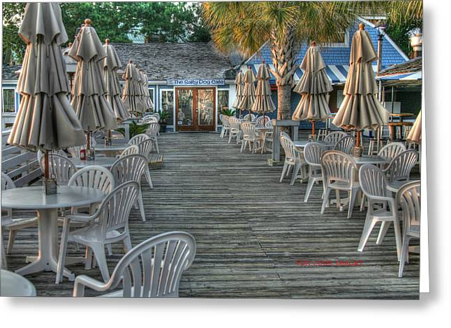 Patio Table And Chairs Photographs Greeting Cards - Salty Dog Greeting Card by Von Cook
