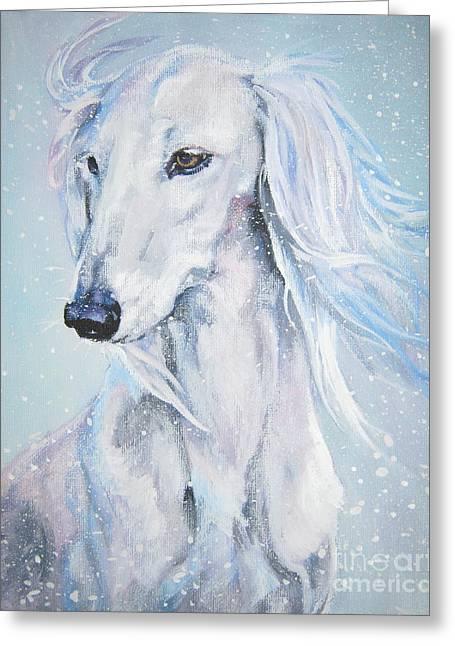 Saluki White Beauty Greeting Card by Lee Ann Shepard