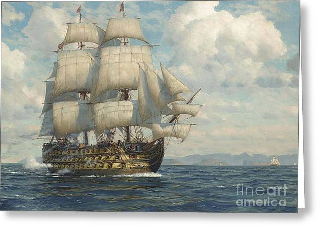 Salute As She Approaches Greeting Card by Michael Zeno