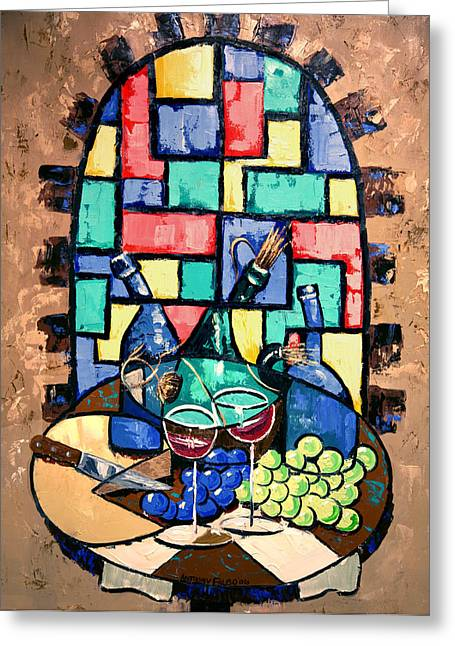 Table Wine Greeting Cards - Salute Happy Hour In Tuscany Greeting Card by Anthony Falbo