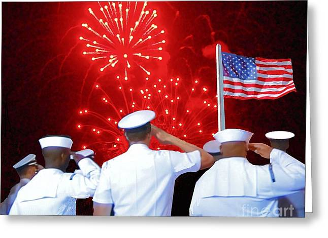 4th July Photographs Greeting Cards - Salute to the Flag Greeting Card by Janette Boyd