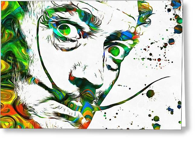 Bizzare Greeting Cards - Salvador Dali Paint Splatter Greeting Card by Dan Sproul