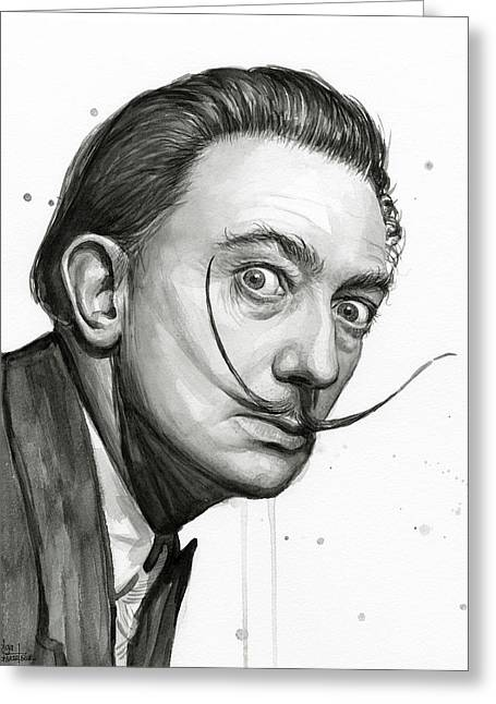 Salvador Dali Portrait Black And White Watercolor Greeting Card by Olga Shvartsur