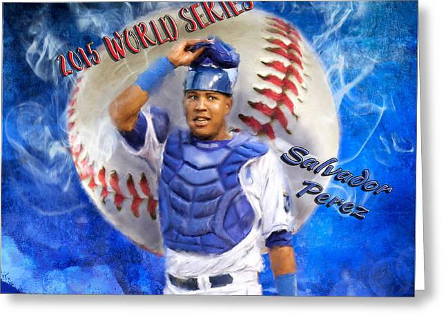 Artist Series Greeting Cards - Salvador Perez 2015 World Series MVP Greeting Card by Colleen Taylor
