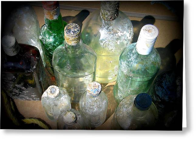 Glass Bottle Greeting Cards - Salvaged Bottles II Greeting Card by Mg Rhoades