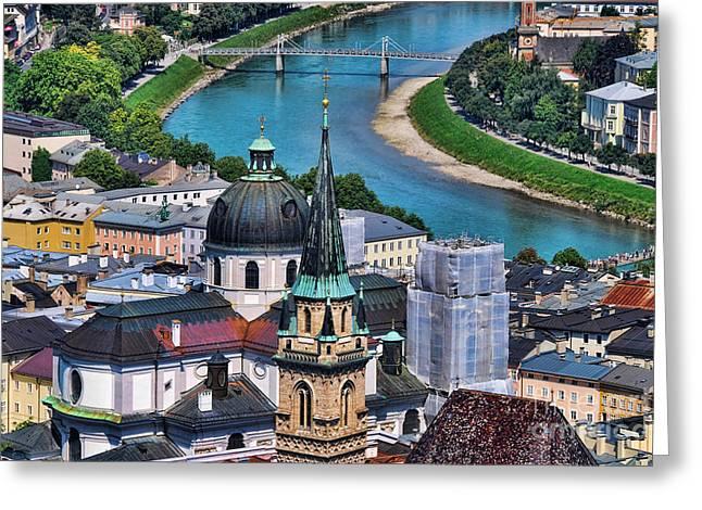 Busybee Greeting Cards - Salzburg Austria Europe Greeting Card by Sabine Jacobs
