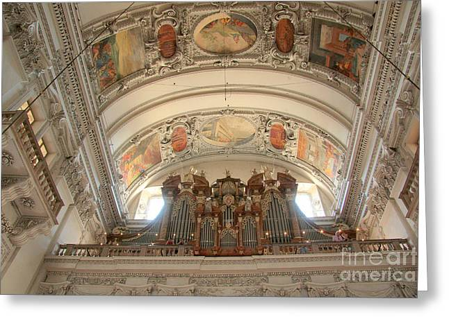 Religion Greeting Cards - Salzburg Cathedral organ Greeting Card by Frank Townsley