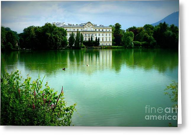 Salzburg Home with Lake Greeting Card by Carol Groenen