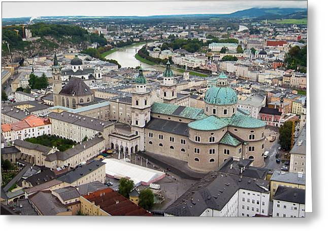 Mozart Greeting Cards - Salzburg Panoramic Greeting Card by Adam Romanowicz