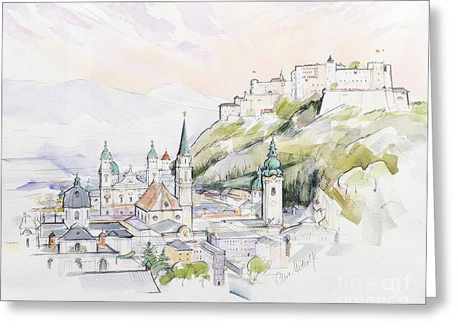 Fortress Greeting Cards - Salzburg Sunrise  Greeting Card by Clive Metcalfe