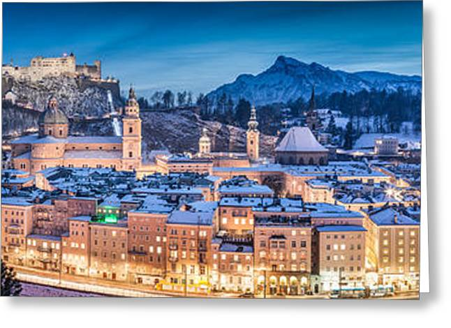 Salzburg Greeting Cards - Salzburg winter panorama at blue hour Greeting Card by JR Photography