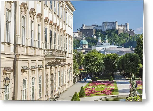 Unique Sights Greeting Cards - SALZBURG Wonderful View to Salzburg Fortress Greeting Card by Melanie Viola
