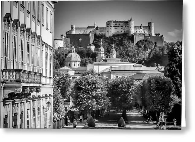 Salzburg Wonderful View To Salzburg Fortress Monochrome Greeting Card by Melanie Viola