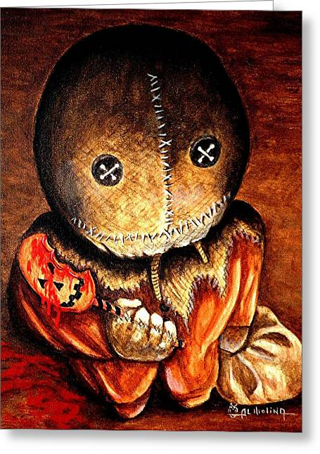 Hallows Eve Greeting Cards - Sam Greeting Card by Al  Molina