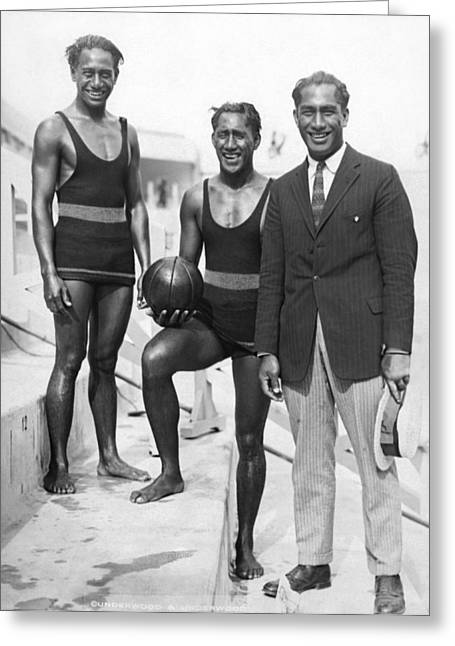 Sam, Dave And Duke Kahanamoku Greeting Card by Underwood Archives