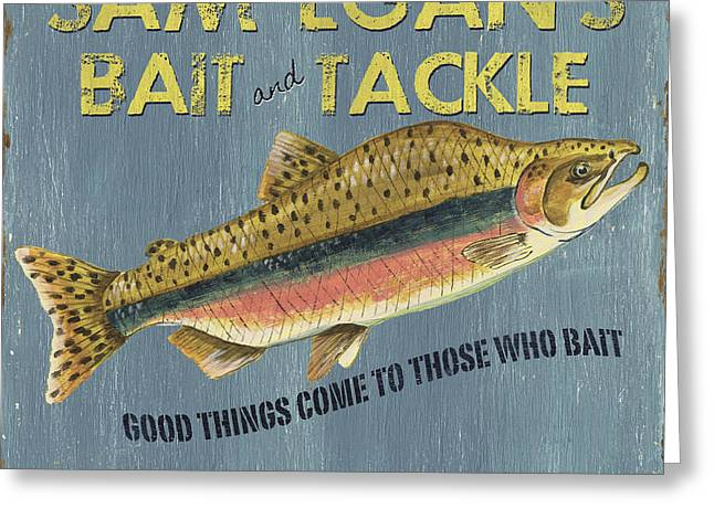Green Canoe Greeting Cards - Sam Egans Bait and Tackle Greeting Card by Debbie DeWitt