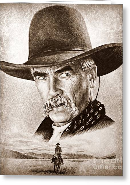 Sam Elliot The Lone Rider Greeting Card by Andrew Read
