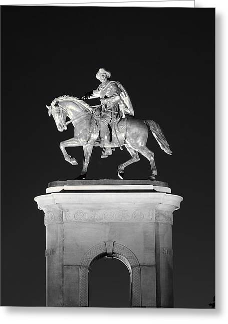 Texas Greeting Cards - Sam Houston - Black and White Greeting Card by David Morefield