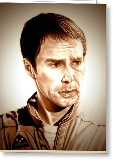 Helium Greeting Cards - Sam Rockwell MOON Greeting Card by Fred Larucci