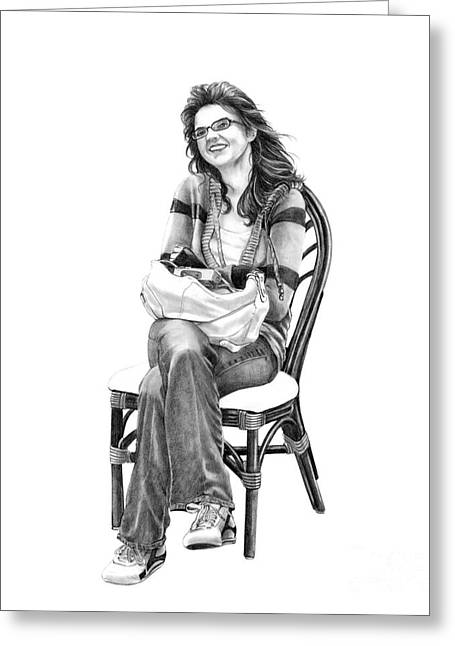 Teen Drawings Greeting Cards - Samantha Jonice Elliott Greeting Card by Murphy Elliott