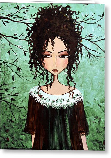 Portrait Art Greeting Cards - Samanthas Chocolate Tree Greeting Card by Debbie Horton