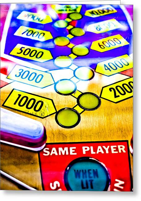 Fast Ball Greeting Cards - Same Player - Jet Spin Pinball Machine Greeting Card by Colleen Kammerer