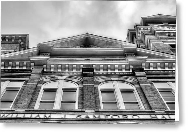 Samford Hall Auburn University  Black And White Greeting Card by JC Findley