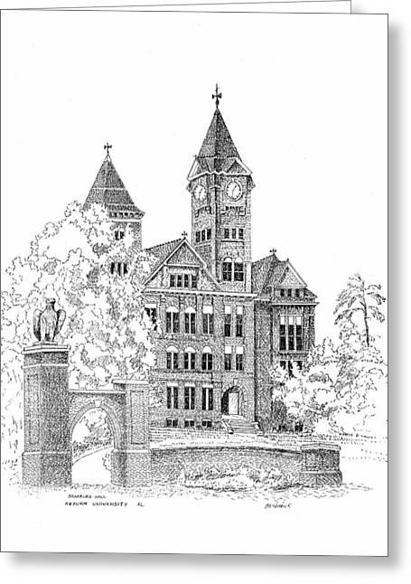 National Drawings Greeting Cards - Samford Hall Greeting Card by Barney Hedrick